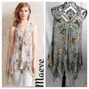Anthropologie Maeve Magda Sheer Ruffle Tunic Dress